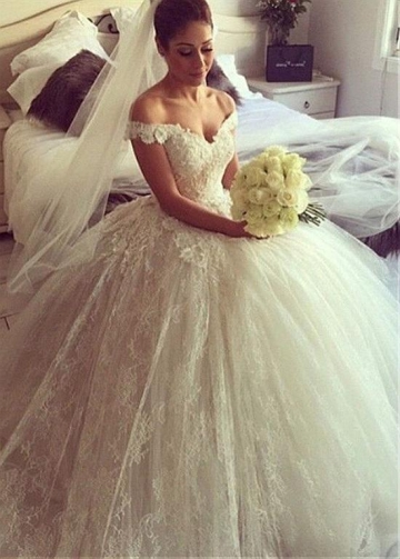 Fantastic Lace Off-the-shoulder Neckline Ball Gown Wedding Dresses With 3D Flowers