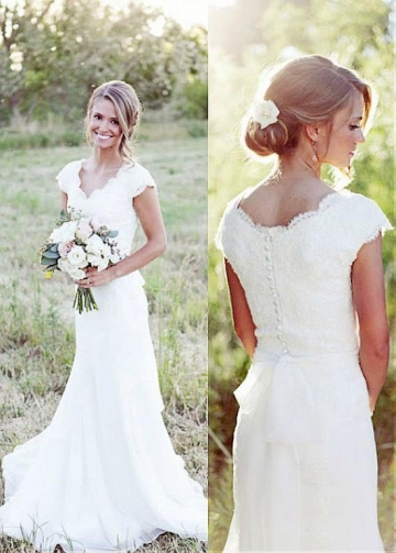 Marvelous Tulle & Chiffon V-neck Neckline Mermaid Wedding Dresses With Lace Appliques