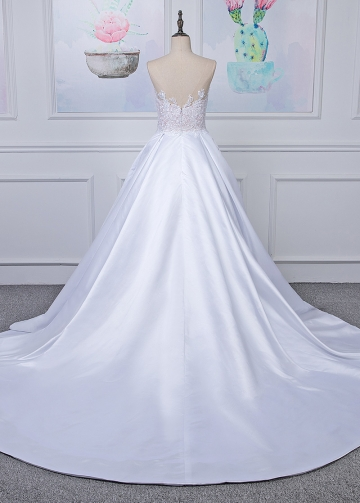 Wonderful Tulle & Satin Bateau Neckline A-line Wedding Dress With Beaded Lace Appliques