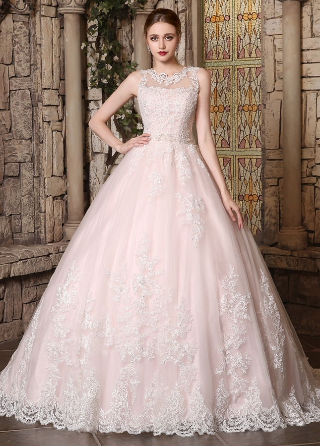 Romantic Tulle Jewel Neckline Ball Gown Wedding Dress With Beaded Lace Appliques