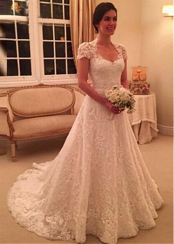 Marvelous Tulle & Lace Queen Anne Neckline A-line Wedding Dress With Beadings & Lace Appliques