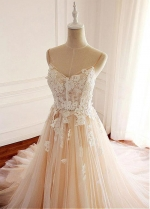 Stunning Tulle Spaghetti Straps Neckline A-line Wedding Dress With Lace Appliques