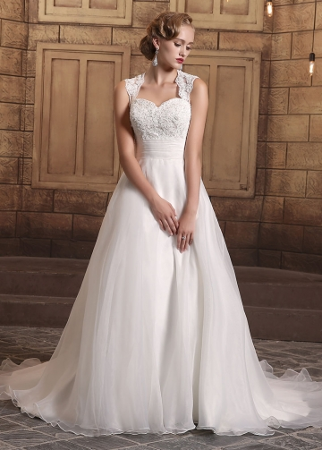 Elegant Organza Queen Anne Neckline A-line Wedding Dresses