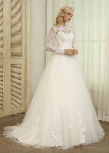 Gorgeous Tulle Jewel Neckline Ball Gown Wedding Dresses With Beaded Lace Appliques