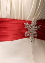 Alluring Satin Strapless Neckline Mermaid Wedding Dresses with Rhinestones