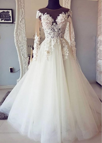 Fascinating Tulle Jewel Neckline A-line Wedding Dresses With Lace Appliques & Beaded 3D Flowers