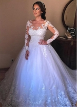 Romantic Tulle Jewel Neckline Ball Gown Wedding Dresses With Beaded Lace Appliques