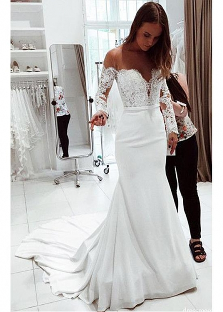 Eye-catching Tulle & Chiffon Jewel Neckline Mermaid Wedding Dresses With Lace Appliques & Bowknot