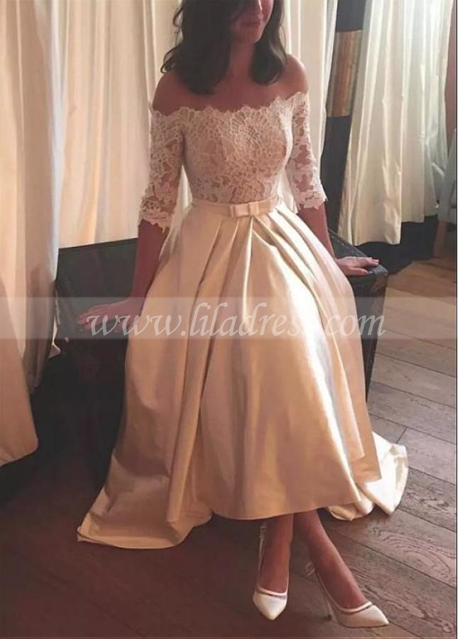 Graceful Lace & Satin Off-the-shoulder Neckline Hi-lo A-line Wedding Dresses With Belt & Bowknot