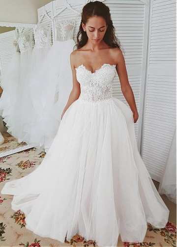 Splendid Tulle Sweetheart Neckline A-line Wedding Dresses With Beaded Lace Appliques