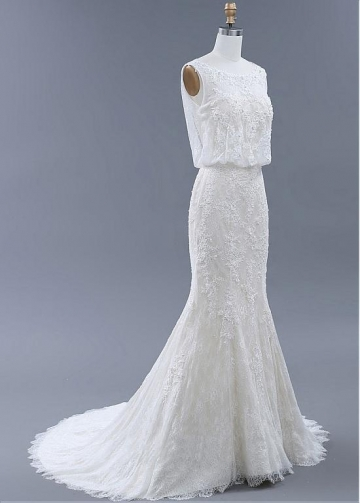 Elegant Tulle & Lace Bateau Neckline Mermaid Wedding Dresses With Beadings & Lace Appliques