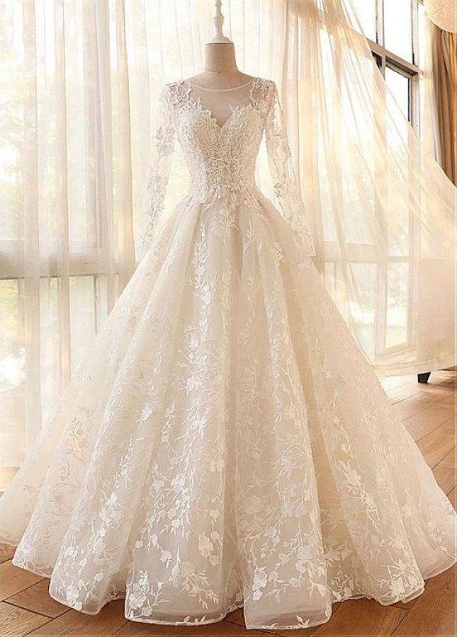 Romantic Tulle Jewel Neckline A-line Wedding Dresses With Lace Appliques & Beadings