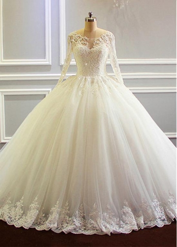 Vintage Tulle Scoop Neckline Ball Gown Wedding Dress With Lace Appliques & Beadings