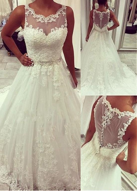 Romantic Tulle Jewel Neckline A-line Wedding Dress With Lace Appliques & Beadings