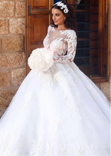 Fascinating Tulle Bateau Neckline Ball Gown Wedding Dress With Lace Appliques