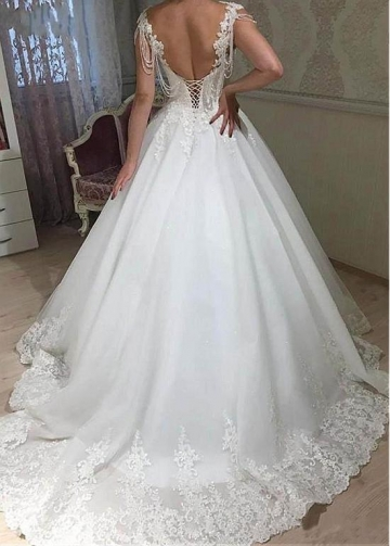 Glamorous Tulle Scoop Neckline A-line Wedding Dress With Beaded Lace Appliques