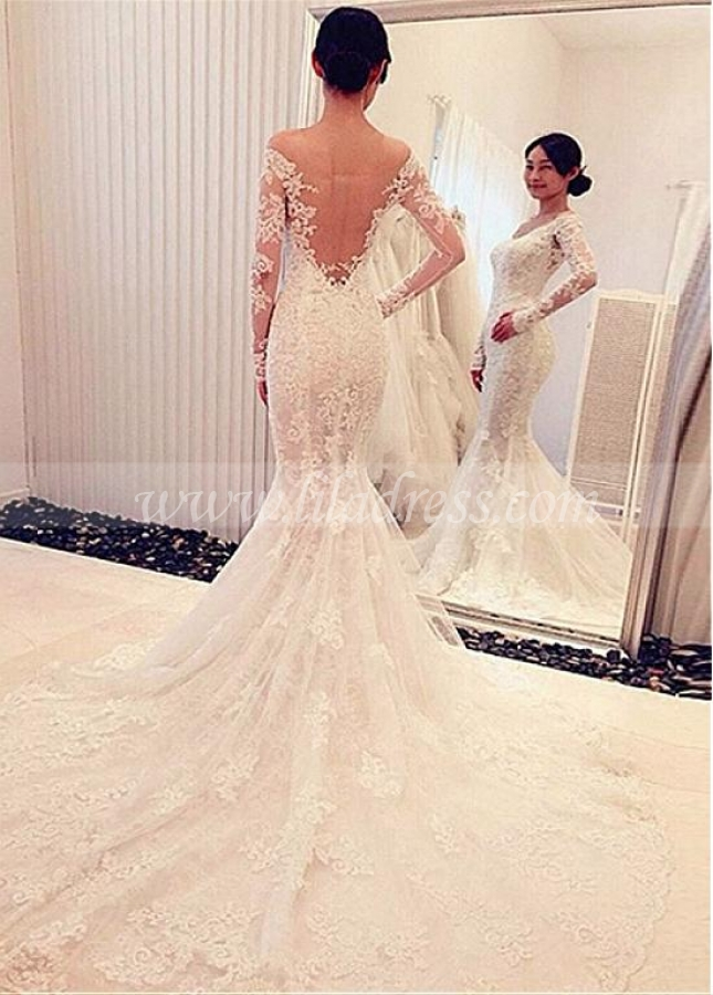 Attractive Tulle & Lace Off-the-shoulder Neckline Mermaid Wedding Dress With Lace Appliques & Beadings