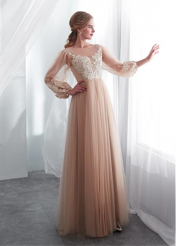 Wonderful Tulle Bateau Neckline A-line Wedding Dress With Lace Appliques