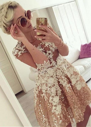 Brilliant SequinJewel Neckline Half Sleeves Short A-line Homecoming Dress With Lace Appliques