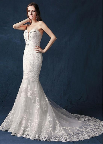 Modest Tulle Sweetheart Neckline Natural Waistline Mermaid Wedding Dress With Lace Appliques & Beadings