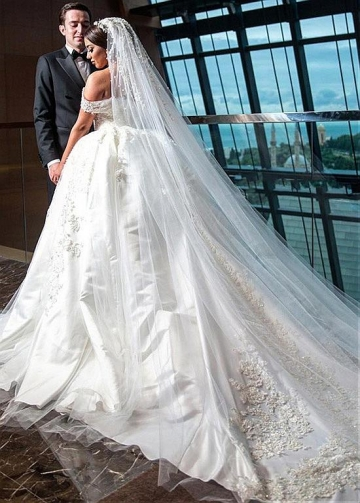 Modest Satin & Tulle Off-the-shoulder Neckline Ball Gown Wedding Dress With Beaded Lace Appliques