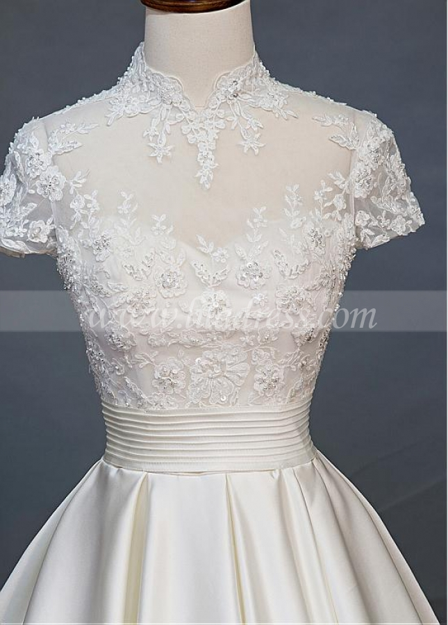 Vintage Tulle & Satin High Collar A-line Wedding Dress With Beaded Lace Appliques