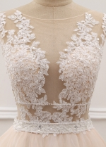 Graceful Tulle & Organza Sheer Jewel Neckline See-through Bodice A-Line Wedding Dress With Beaded Lace Appliques
