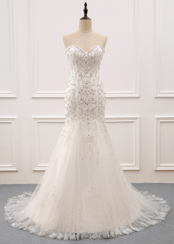 Gorgeous Tulle Sweetheart Neckline Mermaid Wedding Dress With Beaded Embroidery