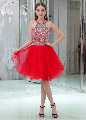 Sparkly Tulle Jewel Neckline A-line Two-piece Cocktail Dresses With Beadings