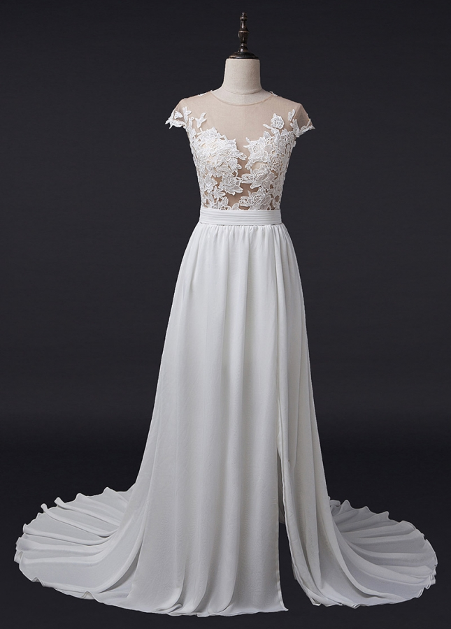 Stunning Tulle & Chiffon Jewel Neckline See-through A-Line Wedding Dress With Lace Appliques