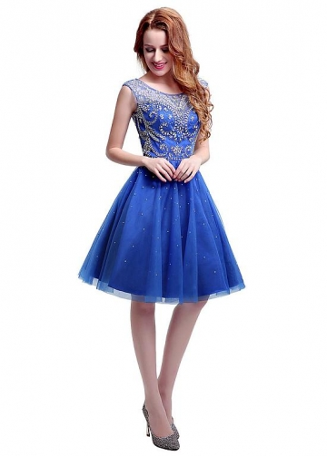 Delicate Tulle Scoop Neckline Knee-length A-line Homecoming Dresses With Beadings