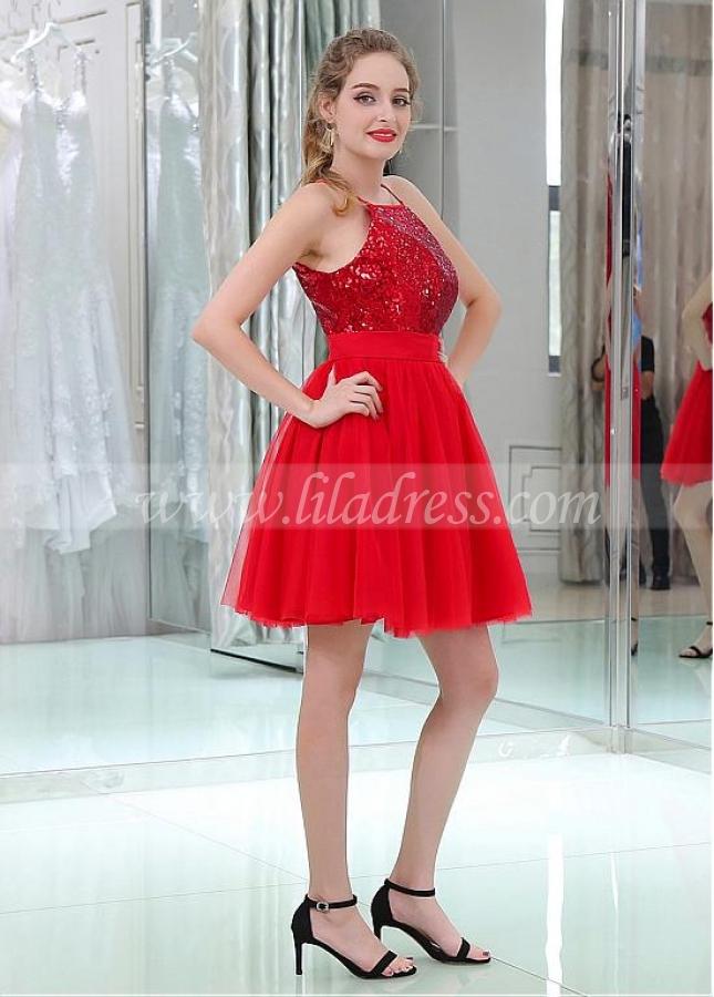 Marvelous Sequin Lace & Tulle Jewel Neckline Short Length A-line Cocktail Dresses