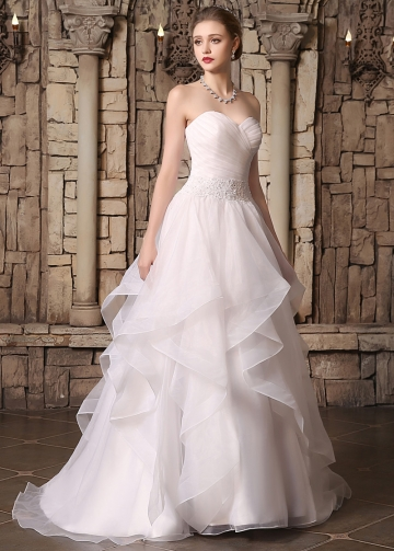 Elegant Organza Sweetheart Neckline Ruffled A-line Wedding Dresses