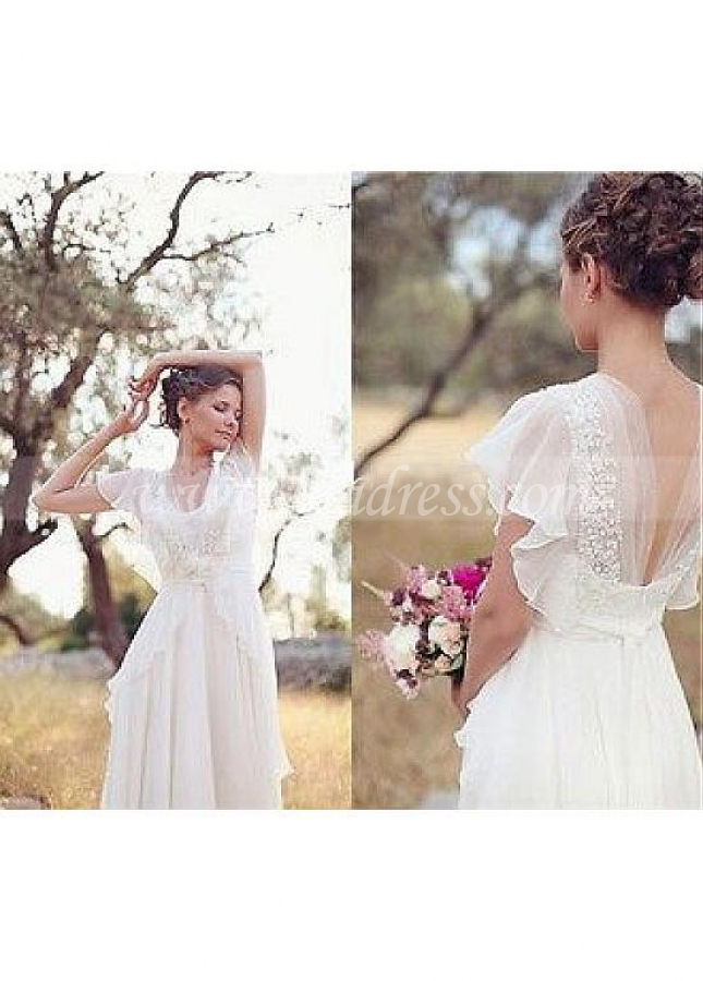 Glamorous Chiffon V-neck Neckline A-line Wedding Dresses With Handmade Flowers