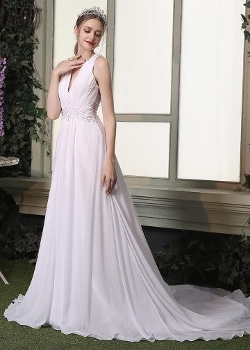 Glamorous Chiffon V-neck Neckline A-line Wedding Dresses