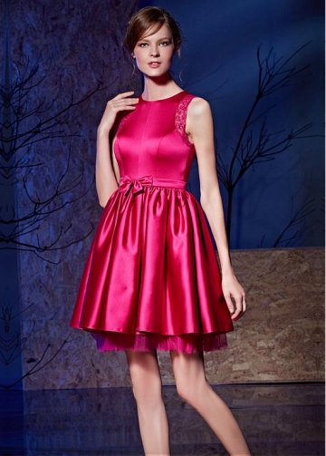 Cute Satin & Tulle Jewel Neckline Short A-line Prom Dresses With Bowknot