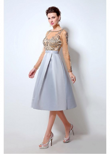 Graceful Tulle & Satin Scoop Neckline Tea-length A-line Homecoming Dresses With Beadings