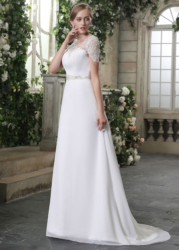 Graceful Chiffon Scoop Neckline A-line Wedding Dresses