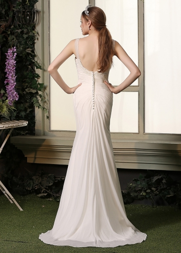 Graceful Chiffon Spaghetti Straps Neckline Mermaid Wedding Dresses