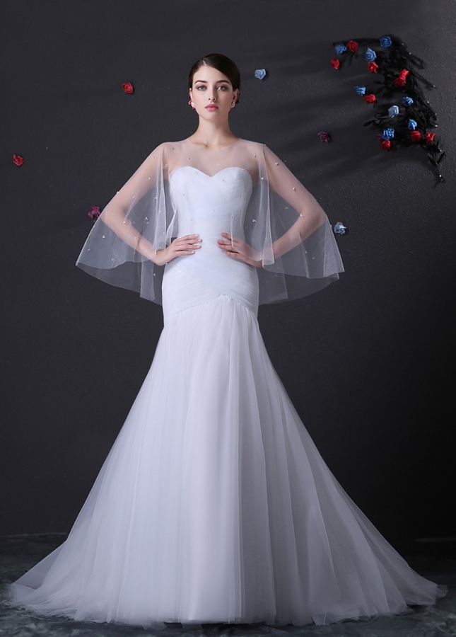 Alluring Tulle Sweetheart Neckline Mermaid Wedding Dress