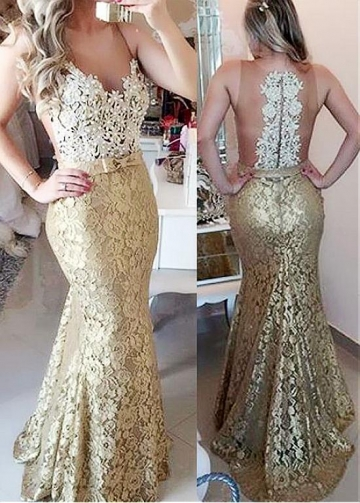 Charming Tulle & Lace Scoop Neckline Mermaid Evening Dresses With Beaded Lace Appliques