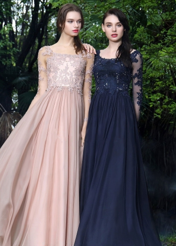 Beaded Lace Champagne Chiffon Evening Dresses with Sheer Long Sleeves