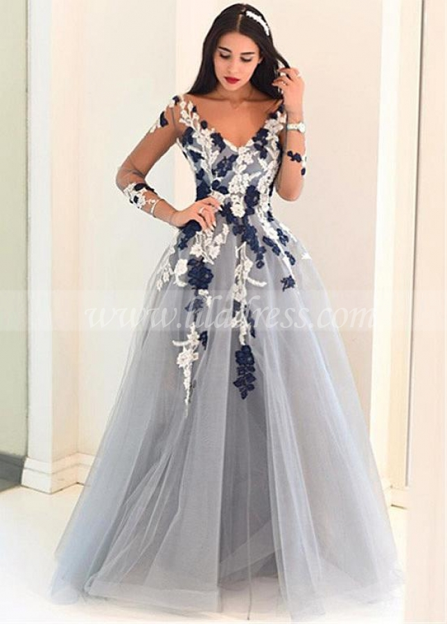 Silver Tulle V-neck Neckline Floor-length A-line Prom Dresses With Illusion Sleeves
