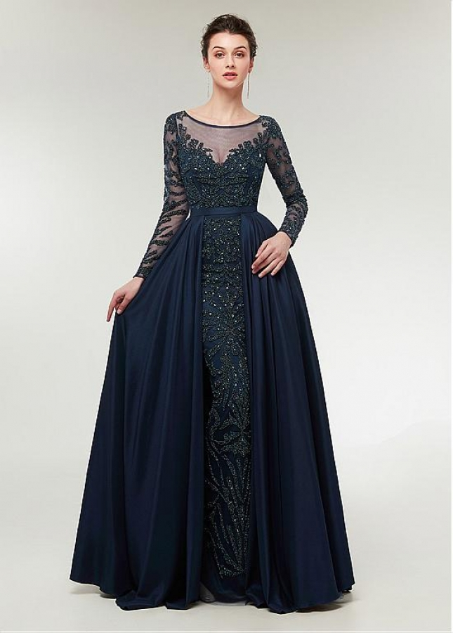 Eye-catching Taffeta Scoop Neckline Long Sleeves A-line Evening Dress With Beadings