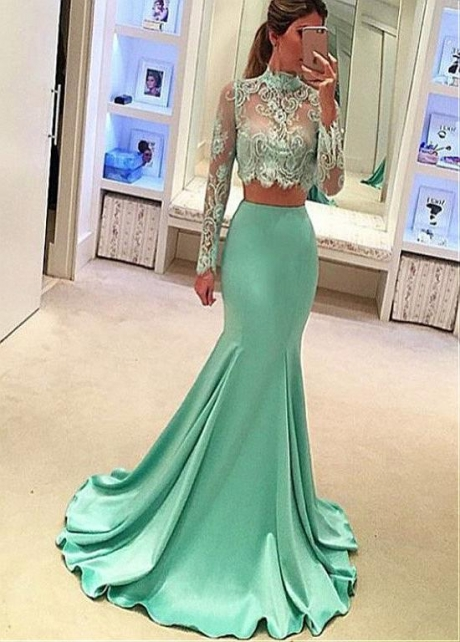 Fabulous Satin High Collar Neckline Two-piece Mermaid Evening Dresses With Lace Appliques