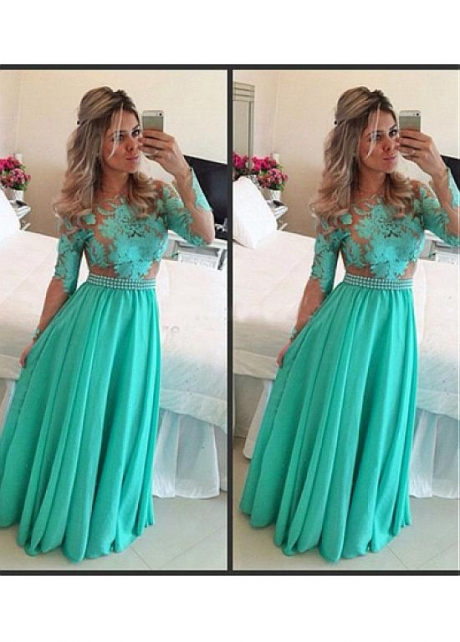 Chic Chiffon Jewel Neckline Floor-length A-line Prom Dresses With Sleeves