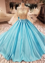 Fabulous Tulle & Satin Bateau Neckline Ball Gown Quinceanera Dress With Lace Appliques & Beadings & Bowknot