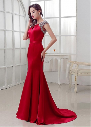 Elegant Satin Bateau Neckline Mermaid Evening Dresses With Beadings