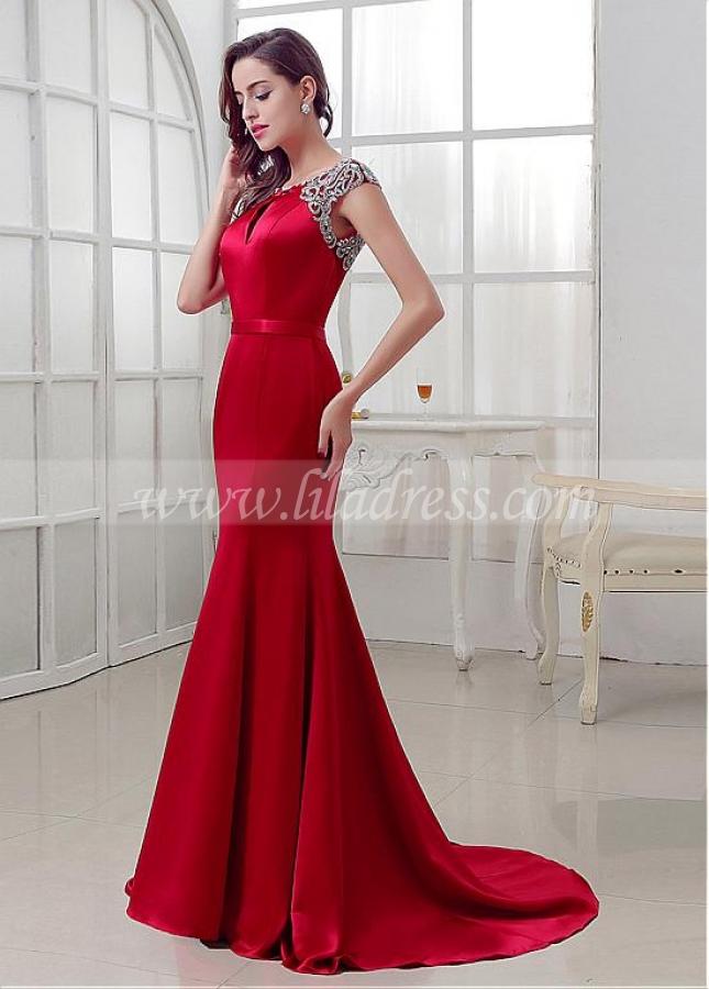Elegant Satin Bateau Neckline Mermaid Evening Dresses With Beadings