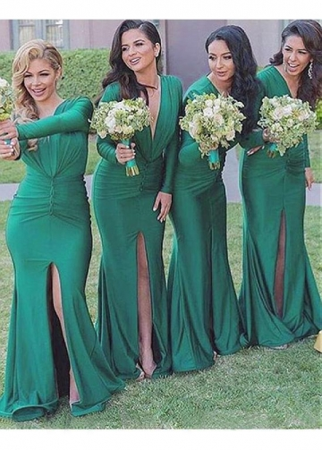 Charming Spandex V-neck Neckline Full-length Mermaid Bridesmaid Dress With Slit
